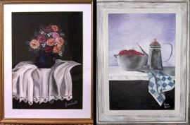 Algunos de los cuadros en exposición
