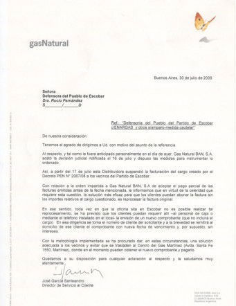 Copia del comunicado difundido por Gas Natural Ban.