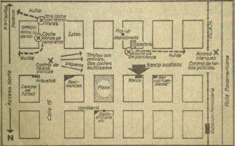 El plano de las operaciones de las FAR en Garín.