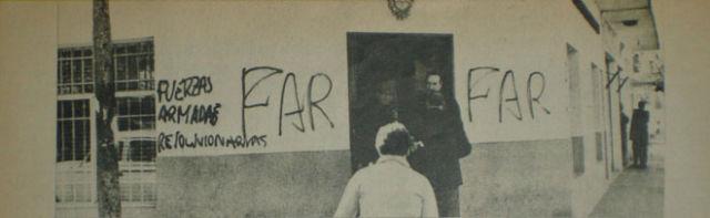 Las pintadas que dejaron las FAR en el destacamento policial de Garín.