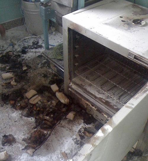 El horno que causó la humareda.