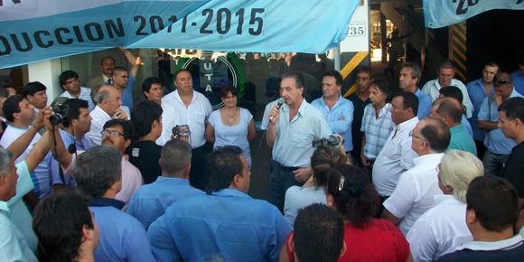 El secretario gremial de UTA, Miguel Bustinduy, destacó la identidad política del sindicato.