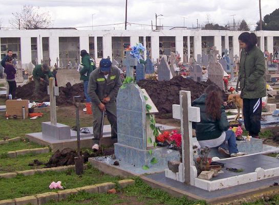 Personal municipal colaboró con los forenses en las tareas de excavación.
