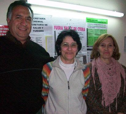 José Magallanes, Amelia García y Claudia Consiglio, en la sede de Suteba Escobar.