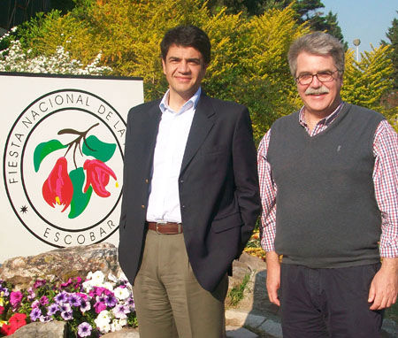 Jorge Macri recorrió el predio floral junto a Miguel Jobe.