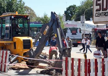 Los trabajos comenzaron en la esquina de Rivadavia y Spadaccini.