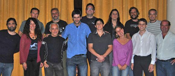 De izquierda a derecha: Spadaro, Bonfanti, Ruiz, García, Trouvé, Rubinstein (arriba), Pozzo, Martínez, Sánchez, Yacuzzi, Cejas, Morale Otero, Lucatelli y Pedersen.