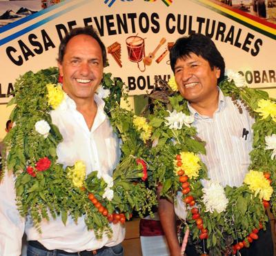 Daniel Scioli acompañó a Evo Morales en Escobar.
